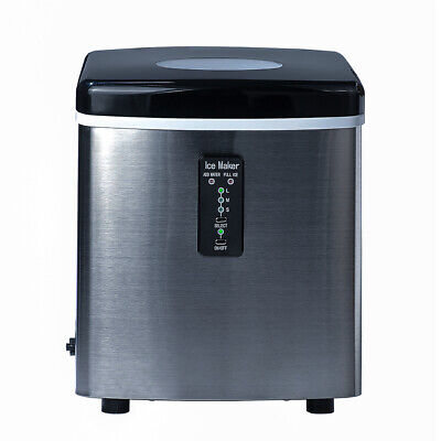 Smeta 33lbsday Countertop Ice Machine Bullet-shape Ice Maker Stainless Steel