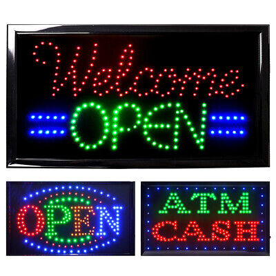 Led Open Neon Business Sign Light Animated Motion Bar Flash Bright With Onoff