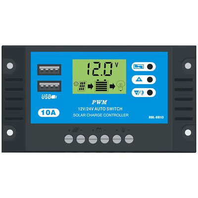 PWM 10A Solar Charge Controller 12V 24V LCD Display Dual USB Solar Panel Charger