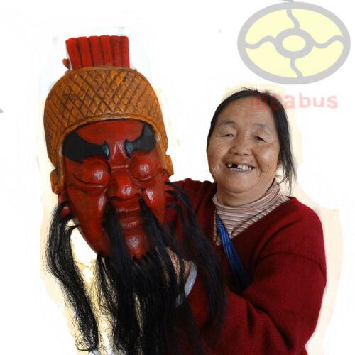 """China Art Wood Hand Carved Painted NUO MASK Walldecor-Guan Yu(Kwanwoo) 12.5""""tall"""