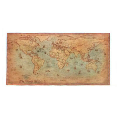 (Decor World Map Retro Home Wall Art Painting Poster Nautical Canvas Vintage Old)