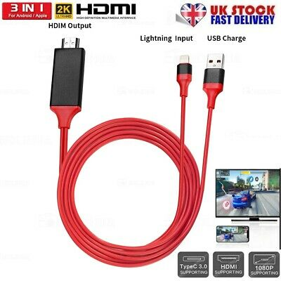 1080P Lightning to Digital AV TV HDMI Cable Adapter For iPad Air iPhone X 11 8 7