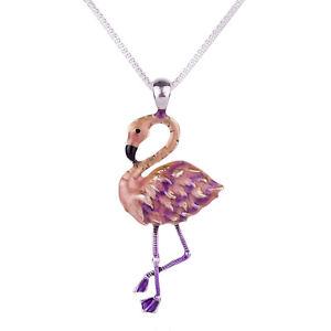 Large Pink Flamingo Charm Pendant Fashionable Necklace - Enamel - 17