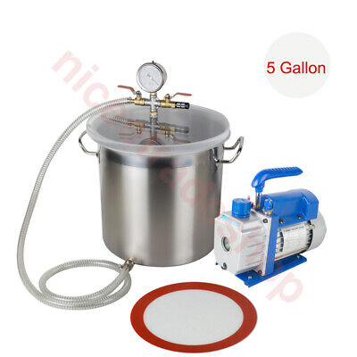 Hot 5 Gallon Stainless Vacuum Degassing Chamber W 14hp Single Stage Pump