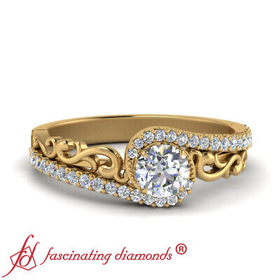 Filigree Style Round Cut Diamond Yellow Gold Crossover Engagement Ring 0.90 Ctw