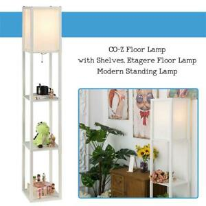 NEW CO-Z Floor Lamp with Shelves, Etagere Floor Lamp, Modern Standing Lamp with 3 Wood Storage Display Shelves for Co...