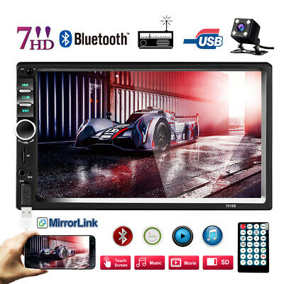 """7"""" Double 2 DIN Car Stereo Radio MP5 Bluetooth Touch Screen + 4LED Backup Camera"""