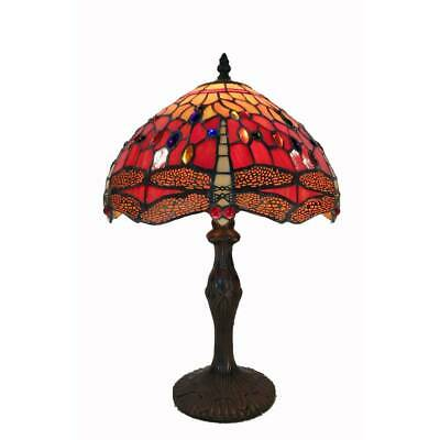 Tiffany Style Lamp Red Dragonfly Stained Glass Table Desk Reading Accent Lamp