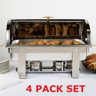 4 Pack Stainless Steel 8 Qt Full Size Roll Top Buffet Catering Chafer Dish Set