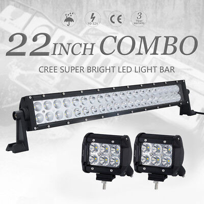 Led light barebay 22inch led work light bar spot flood combo 4 cree pods truck offroad 4x4 mozeypictures Images