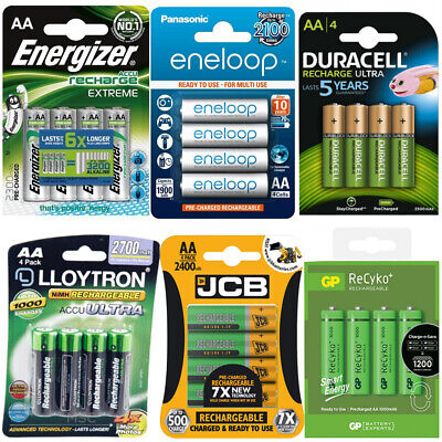 JCB DURACELL PANASONIC ENERGIZER LLOYTRON RECHARGEABLE BATTERIES PRE-CHARGED AA Duracell Pre-charged Rechargeable