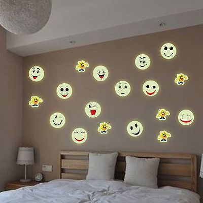 Room Decoration Emoji PVC Wall Stickers Smiley Face 3D Luminous Decal