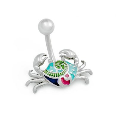 "14g 3/8"" Folky Crab Belly Button Ring"