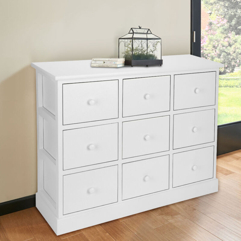 Large chest of drawers bedroom furniture white wooden storage unit 9 drawer uk ebay for Bedroom set with storage drawers