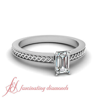 Solitaire Twisted Engagement Ring 1/2 Carat Emerald Cut Diamond VVS2-D Color GIA