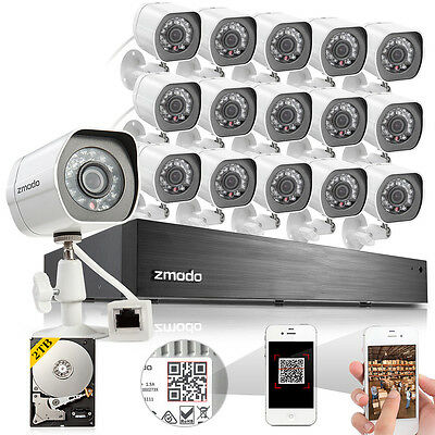 Zmodo 1080P16 Ch NVR 16 1.0 MP HD IP Outdoor PoE CCTV Security Camera System 2TB