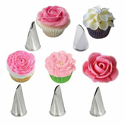 5 Pcs/Set Rose Cake Decorating Tips Pastry Cream Petal Icing Piping Nozzles