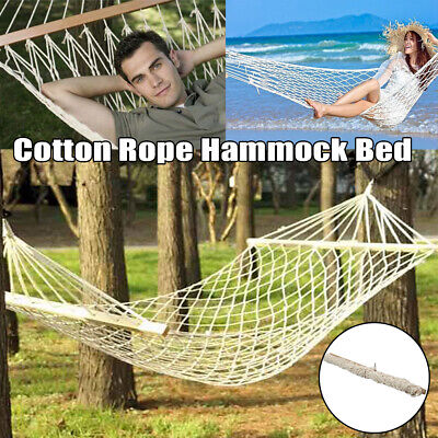 - Single Person Outdoor Swing Hanging Hammock Bed Camping Beach Sleep Cotton Rope