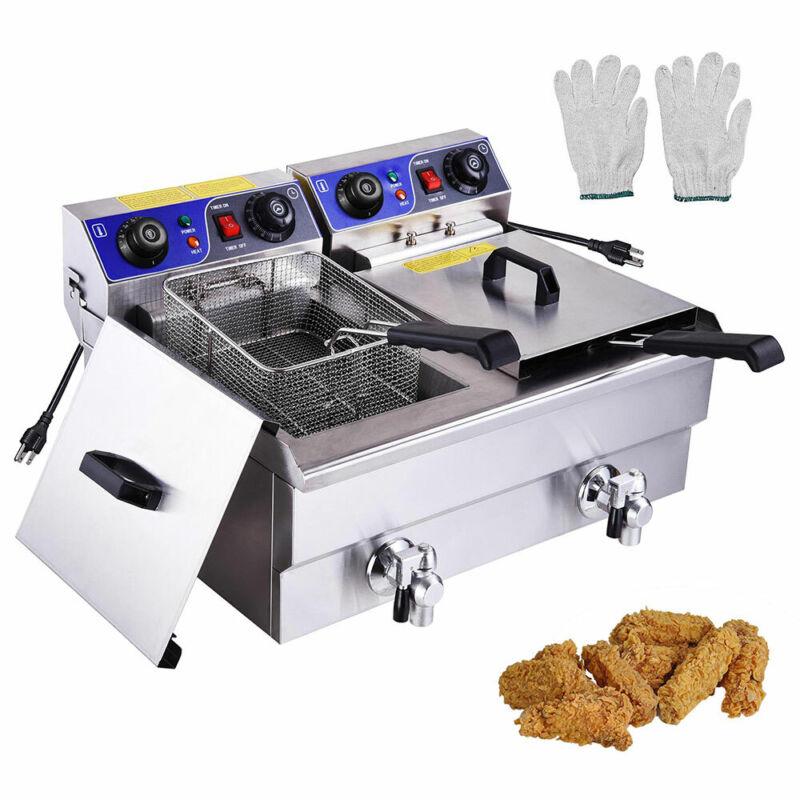 Electric Deep Fryer w/ Drain Timers Commercial Countertop Fry Basket Restaurant