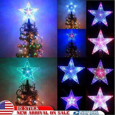 Large Christmas Crystal Tree Topper Pentagram Star Lights Lamp Multi Color Decor Christmas Lights Tree Toppers