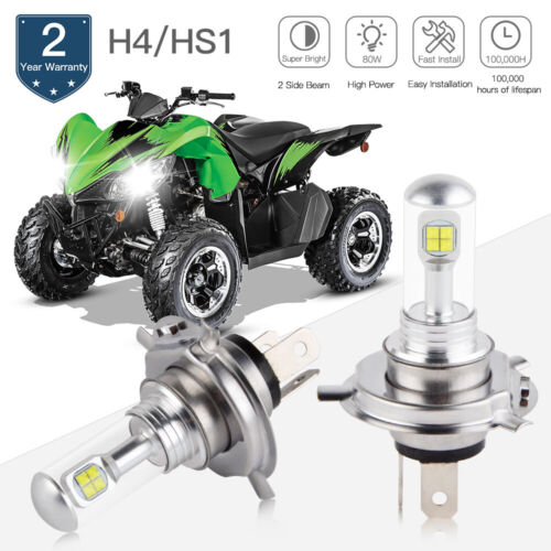 H4 9003 For Arctic Cat Cougar MC Mountain Cat Headlight LED 6500K 80W Bulbs Kit