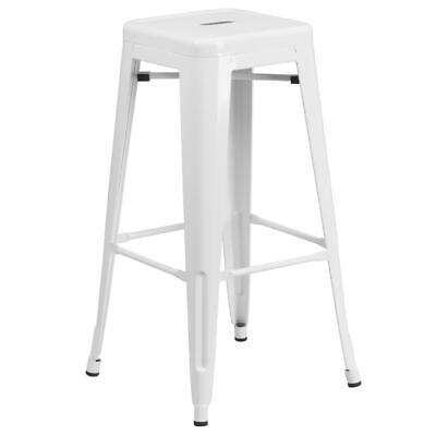 Commercial Grade 30 High Backless White Metal Indoor-outdoor Barstool With...