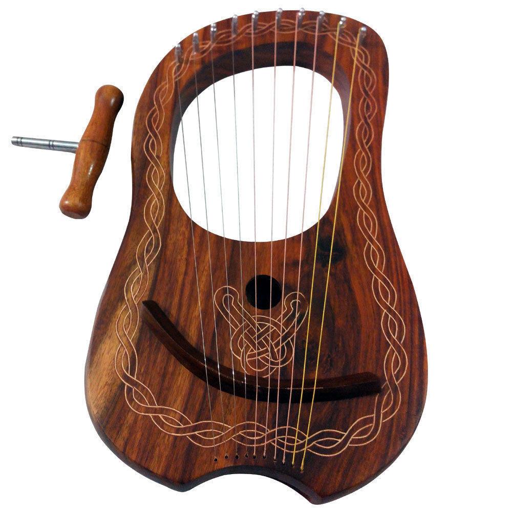 Neu Lyra Mundharmonika Sheesham Holz 10 Metall Saitenlyra 10 Saiten Freie
