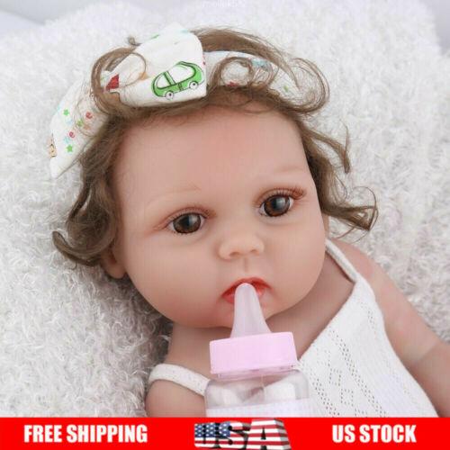 "18"" Reborn Baby Girl Dolls Silicone Handmade Realistic Full"