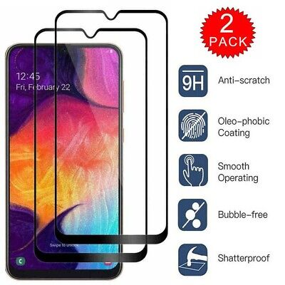 2-Pack Full Cover Tempered HD Screen Protector For Samsung Galaxy A10e A20 A50 Flat Tempered Glass