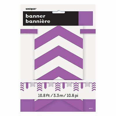 PURPLE CHEVRON and DOTS PAPER BANNER ~ Birthday Party Supplies Decorations  - Purple Birthday Banner