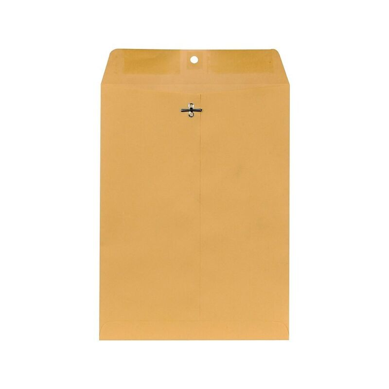 "Staples Brown Kraft Clasp Envelopes 9"" x 12"" 250/Box 487493"