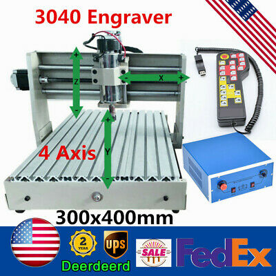 4 Axis Cnc 3040 Router Wood Engraver 3d Milling Engraving Machine 400whandwheel