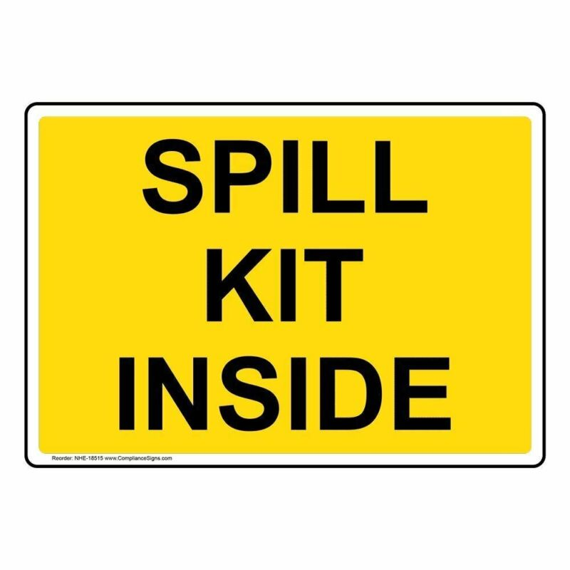 ComplianceSigns Aluminum Spills Sign, 10 x 7 in. with English Text, Yellow