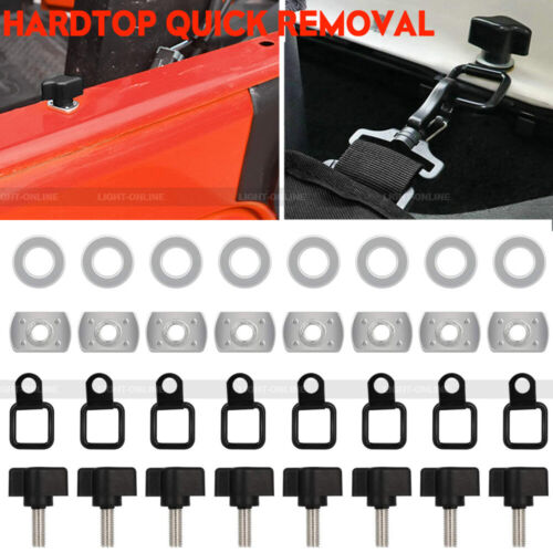 Quick Removal Fastener Thumb Screws D Rings Anchor for Jeep Wrangler 2007-2017