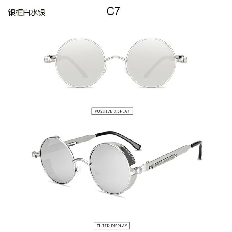 Vintage Steampunk Round Sunglasses Retro Women Men Designer Metal Frame Glasses