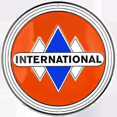 "INTERNATIONAL TRUCK IH 12"" ROUND METAL TIN RETRO SIGN GARAGE BARN INDOOR OUTDOOR"