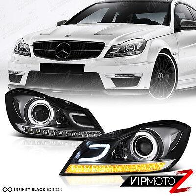 2012-2014 Mercedes Benz W204 C250 C300 C350 C63 Black Projector Headlights L+R