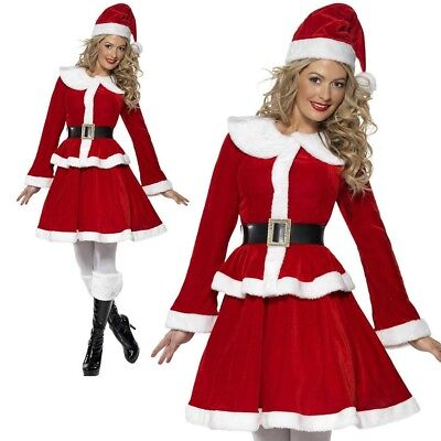 Miss Santa Claus Costume Ladies Womens Sexy Christmas Fancy Dress Outfit New