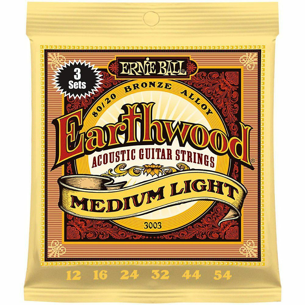 Купить 3 SETS ERNIE BALL 2003 EARTHWOOD MED LIGHT ACOUSTIC GUITAR STRINGS 12-54 (3PACK)