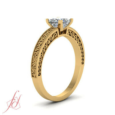 Yellow Gold Solitaire Celtic Engagement Ring With 3/4 Carat Princess Cut Diamond 2