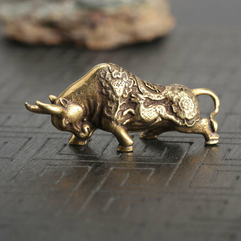 Chinese Old Antique Collectible Brass Cattle Hand Piece Statue Home Decor Gift