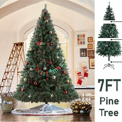7Ft PVC Artificial Slim Pencil Christmas Tree w/ Stand Home Holiday Decor Green