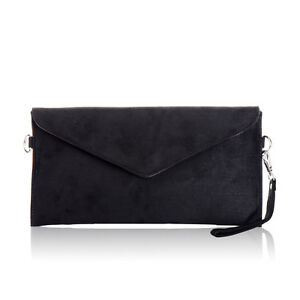 Italian Designer Soft Patent Suede Leather Envelope Clutch Bag Handbag Purse Bag