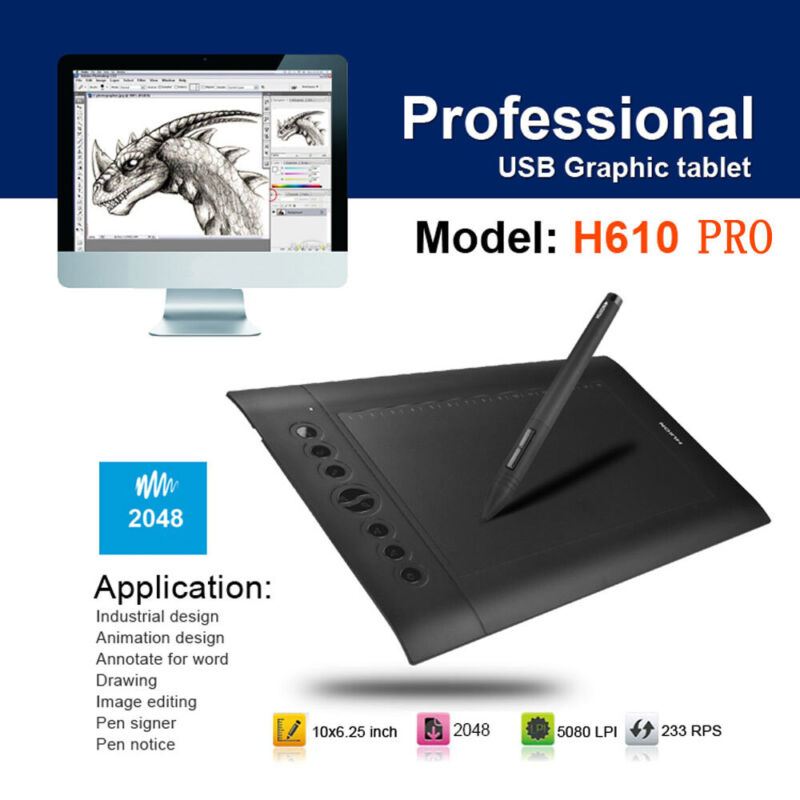 """Graphics Drawing Tablet Monitor Large Screen Art Painting Board USB 10""""x 6.25"""""""
