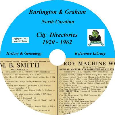For sale BURLINGTON & GRAHAM North Carolina CITY DIRECTORY - History -24 Books on CD DVD