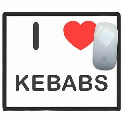 I Love Heart Kebabs - Thin Pictoral Plastic Mouse Pad Mat Badgebeast