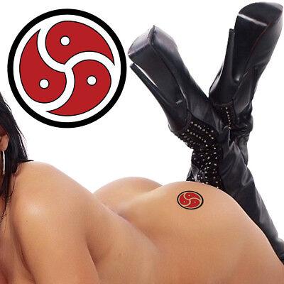 Symbol Tattoo - BDSM Triskelion Symbol Deep Red and Black Fetish Master Slave Temporary Tattoo