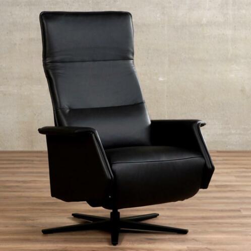 Zwarte Leren Relaxstoel.Leren Relaxfauteuil Mojo Zwart Leer Zwarte Relaxstoel