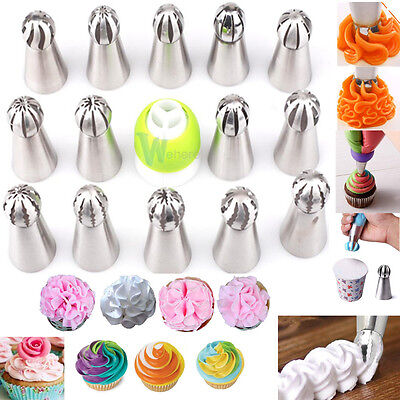 14X Russian Flower Ball Cake Decorating Icing Piping Nozzles Pastry Tips Baking