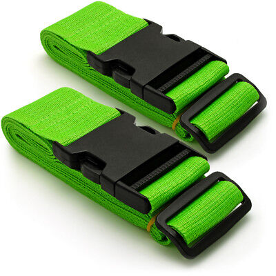 Green Long Travel Luggage Straps Adjustable Suitcase Safety Buckle Belts 1 Pair